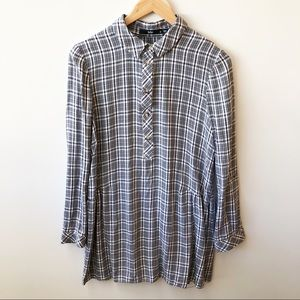 Sportsgirl Longline Checked Shirt Tunic Button Up